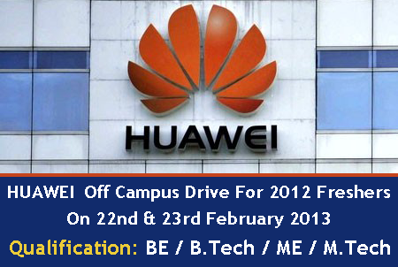 HUAWEI Jobs for freshers